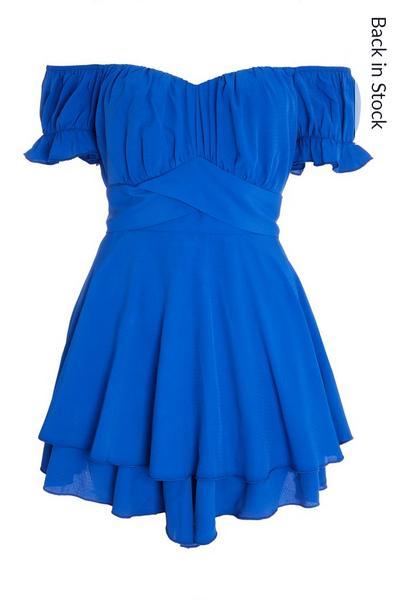 Blue Bardot Frill Playsuit
